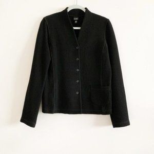 Eileen Fisher Black Waffle Knit Button Jacket